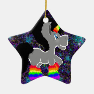 Flockiges Regenbogenraum-Einhorn Keramik Ornament
