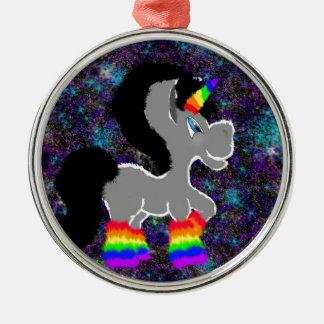 Flockiges Regenbogenraum-Einhorn Rundes Silberfarbenes Ornament