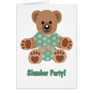Flockiges Teddybär-Grün geblühter Pyjama-Schlummer Karte