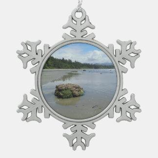 Florencia Bucht-Strand 1 Schneeflocken Zinn-Ornament