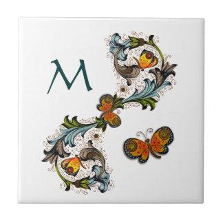 Florentinische Blumenmonogramm-Keramik-Fliese Kleine Quadratische Fliese