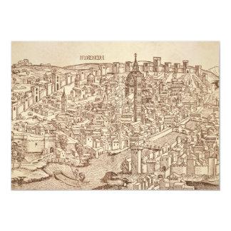 Florenz, mittelalterlicher Holzschnitt 12,7 X 17,8 Cm Einladungskarte