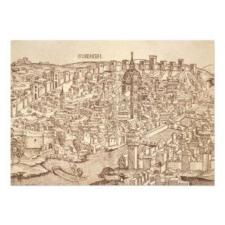 Florenz mittelalterlicher Holzschnitt Einladungskarten
