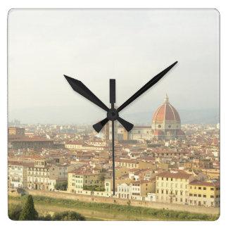 Florenz- oder Firenzeitalien Stadtbild Quadratische Wanduhr