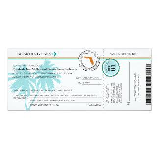 Florida-Boarding-Durchlauf-Hochzeits-Einladung 10,2 X 23,5 Cm Einladungskarte