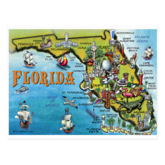 Florida-Cartoon-Karte Postkarte