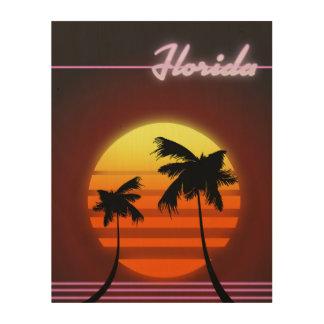 Florida-Sonnenuntergangplakat 1984 Holzleinwand