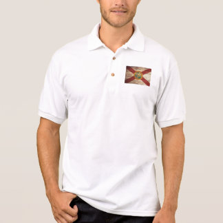 Florida-Staats-Flagge auf altem hölzernem Korn Polo Shirt