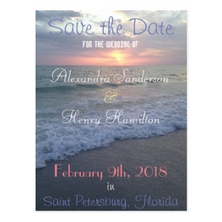 Florida-Strand-Sonnenuntergang-Save the Date Postkarte
