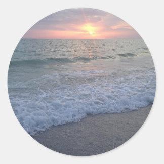 Florida-Strand-Sonnenuntergang Save the Date Runder Aufkleber
