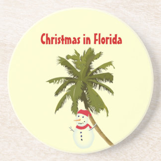 Florida-Weihnachten, Snowman unter Palmen-Unterset Bierdeckel