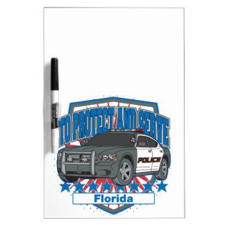 Florida, zum des Polizeiwagens zu schützen und zu Memoboard
