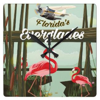 Floridaeverglades-Cartoon-Reiseplakat Quadratische Wanduhr