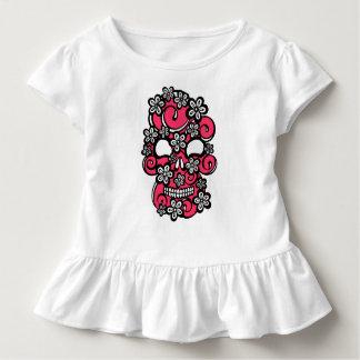 Floround Schädel-Rosa auf Weiß Kleinkind T-shirt