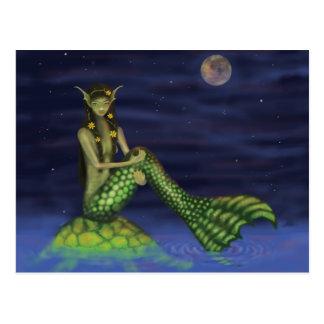 Flosse, die zurück Meerjungfrau auf Schildkröte Postkarte
