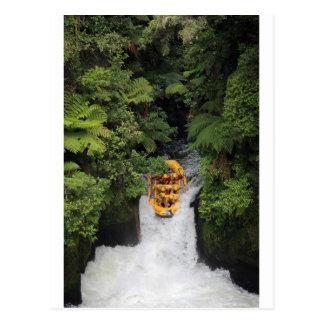 Flößen über Wasserfall Neuseeland Postkarte
