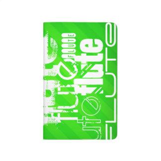 Flöte; Grüne Neonstreifen Taschennotizbuch