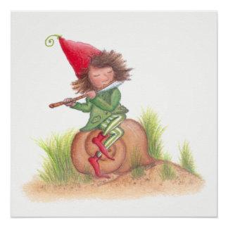Flöten-Elf-Plakat Poster