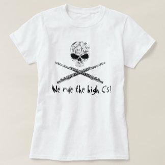 Flöten-Totenkopf mit gekreuzter Knochen T-Shirts