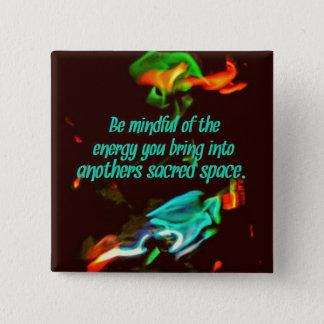 Flourescent Flammen-aufmerksame Energie Quadratischer Button 5,1 Cm
