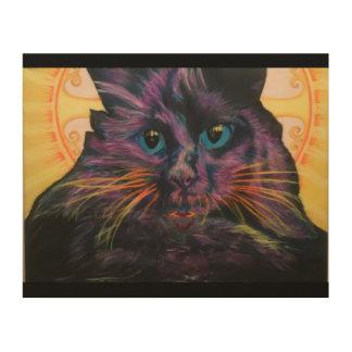 Flourescent schwarze Katze Holzwanddeko