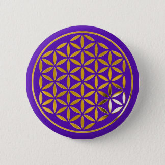 Flower Of Life 1 - Gold stamp | violet Runder Button 5,7 Cm