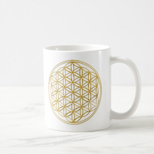 FLOWER OF LIFE gold Kaffeetasse