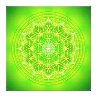 flower of life on green mandala leinwanddruck