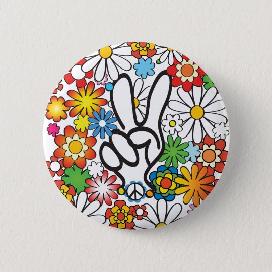 Flower Power Runder Button 5,1 Cm