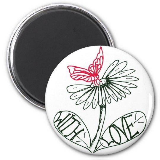 flower with love runder magnet 5,1 cm