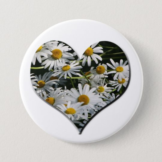 FlowerHeart Runder Button 7,6 Cm