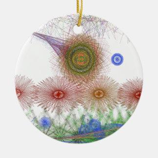 Flowers in the garden rundes keramik ornament