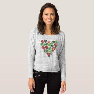 Flowy weg von der Schulter-BlumenRosen-Herz-Spitze T-shirt