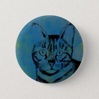 Flüchtige Katze auf Blau Runder Button 5,7 Cm
