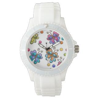 Flüchtige Schmetterlinge u. Punkte Armbanduhr