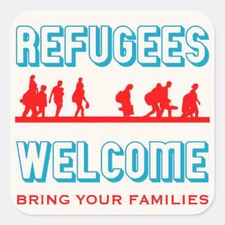 Flüchtlings-Willkommen holen Ihre Familie Quadratischer Aufkleber