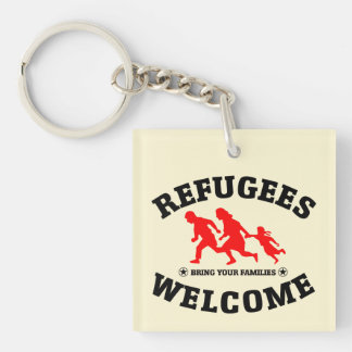 Flüchtlings-Willkommen holen Ihre Familie Schlüsselanhänger