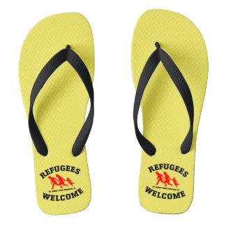 Flüchtlings-Willkommen holen Ihre Familien Flip Flops