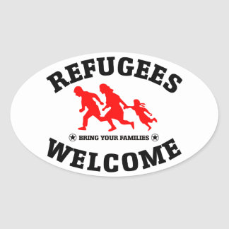 Flüchtlings-Willkommen holen Ihre Familien Ovaler Aufkleber