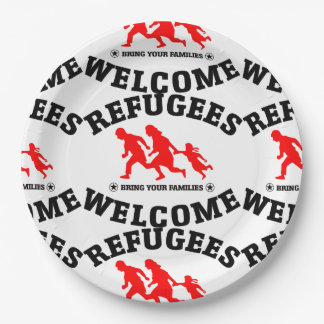 Flüchtlings-Willkommen holen Ihre Familien Pappteller