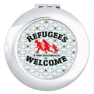 Flüchtlings-Willkommen holen Ihre Familien Schminkspiegel