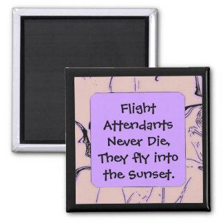 Flugbegleiter fliegen in Sonnenuntergang Quadratischer Magnet