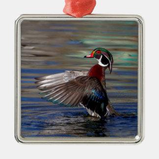 Flügel, der hölzerne Ente flattert Silbernes Ornament