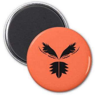 Flügelschwarzes auf Orange Runder Magnet 5,7 Cm