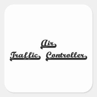 Fluglotse-klassischer Job-Entwurf Quadratischer Aufkleber