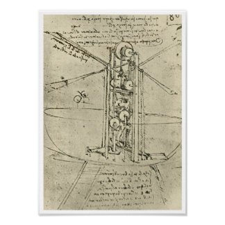 Flugmaschine, Leonardo da Vinci, 1488 Poster