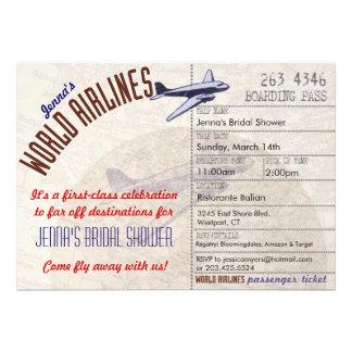 Flugticket DestinationBridal Duschen-Einladung