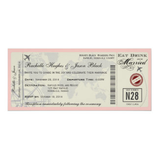 Flugticket-Hochzeits-Einladung 10,2 X 23,5 Cm Einladungskarte