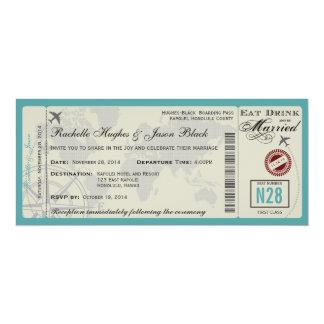 Flugticket-Hochzeits-Einladung FREIGESETZT 10,2 X 23,5 Cm Einladungskarte