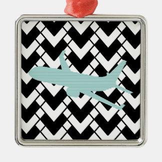 Flugzeug - abstraktes geometrisches Muster - Blau Silbernes Ornament